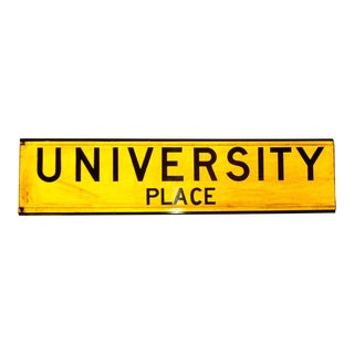 "1960s New York City Yellow Reflective Street Sign ""University Place"" - Greenwich Village For Sale"