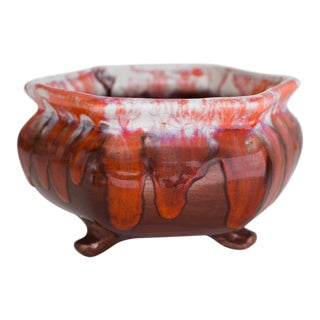 20th Century Asian Octagonal Footed Ceramic Pot With Drip Glaze For Sale