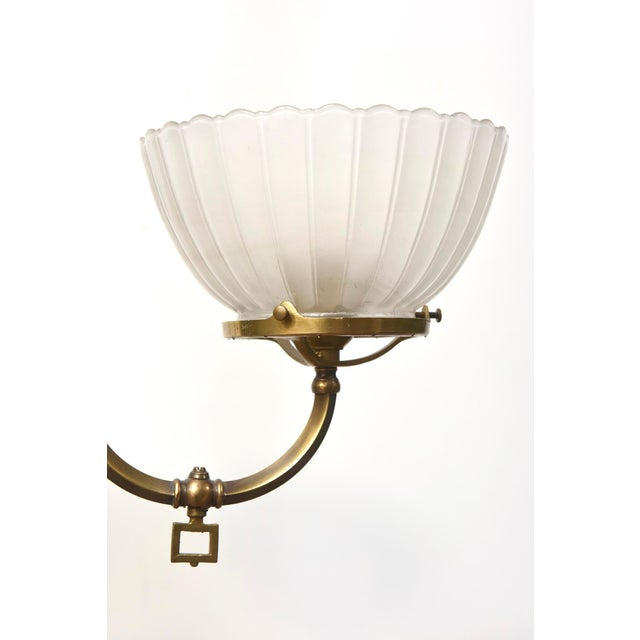 Four Arm Brass Gas Chandelier For Sale - Image 4 of 11