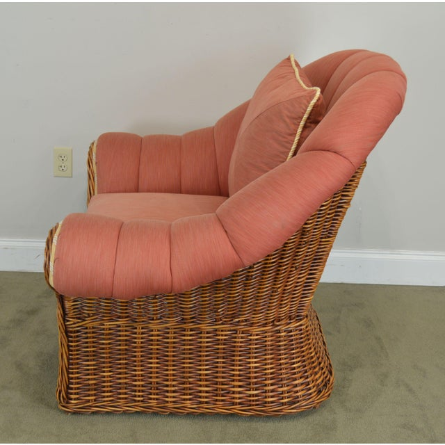 Wicker Pierce Martin Quality Pair Rolled Arm Wicker Lounge Chairs For Sale - Image 7 of 13