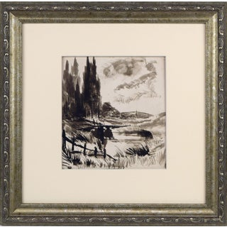 19th Century English Landscape Pen & Ink Wash Painting For Sale