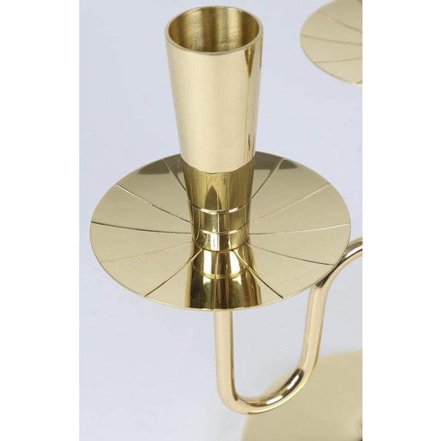 Brass 1950's VINTAGE TOMMI PARZINGER SOLID BRASS CANDELABRA- A PAIR For Sale - Image 7 of 10