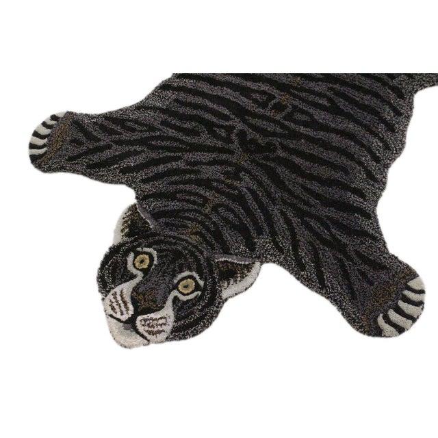 Contemporary Decorate Wild Black Tiger Design Handcuffed Area Rug For Sale - Image 4 of 8