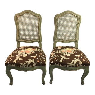 1900s Hollywood Regency Palm Beach Style Cane Back Chairs - a Pair For Sale