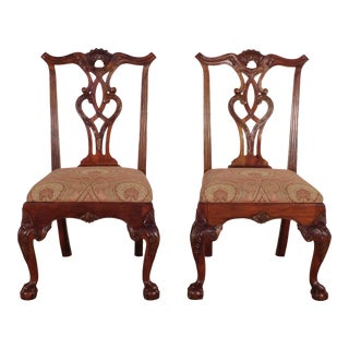 1990s Henredon Furniture Mahogany Rittenhouse Dining Side Chairs - a Pair For Sale