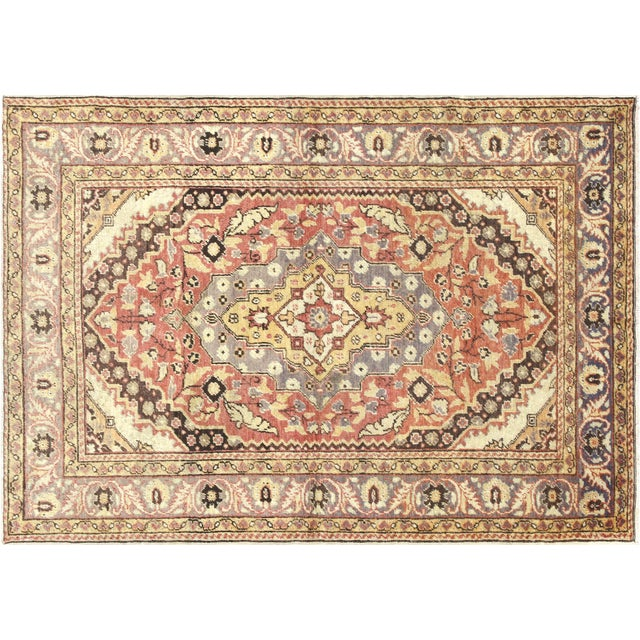 "Textile 1960s Turkish Oushak Rug 4'3"" X 5'11"" For Sale - Image 7 of 7"