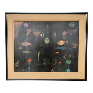 "1960s Vintage Abstract Expressionist Paul Klee Cubist ""Fish Magic"" Print For Sale"