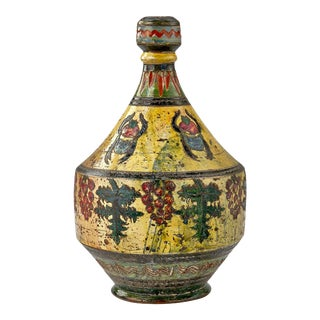 Mid-Century California Pottery Jug Decorated With Paintings of Beetles, Berries and Leaves For Sale