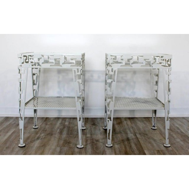 Glass Mid-Century Modern White Set of Patio Tables Coffee Pair Side For Sale - Image 7 of 12