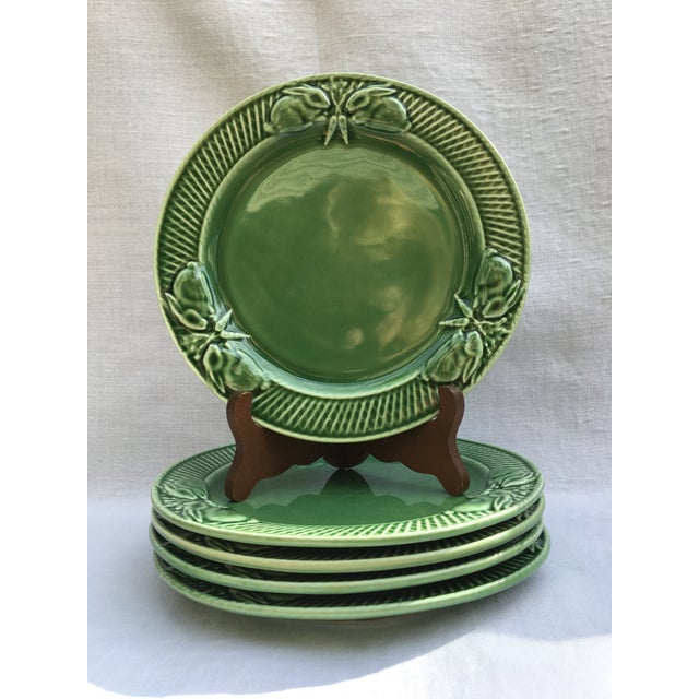 For sale is a set of 5 green Portuguese Bordallo Pinheiro luncheon (6.25 inches) plates decorated with a band of bunnies...