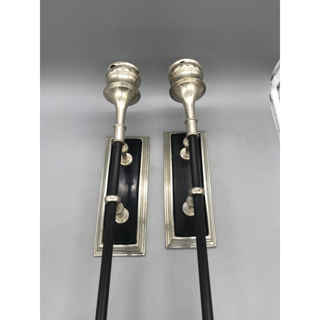 """Metal Candle Holders With Wall Mount. Vintage circa 1980s. Items measure 18"""" long 3.5"""" wide with 4.5"""" depth"""