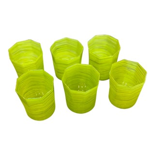 Handmade Citrus Green Double Old Fashioned Glasses - Set of 6 For Sale