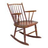 Image of Grain Painted Spindle Back Rocking Chair | 19th Century Red Primitive Antique For Sale