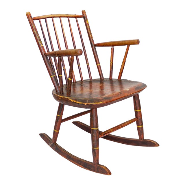 Grain Painted Spindle Back Rocking Chair | 19th Century Red Primitive Antique For Sale