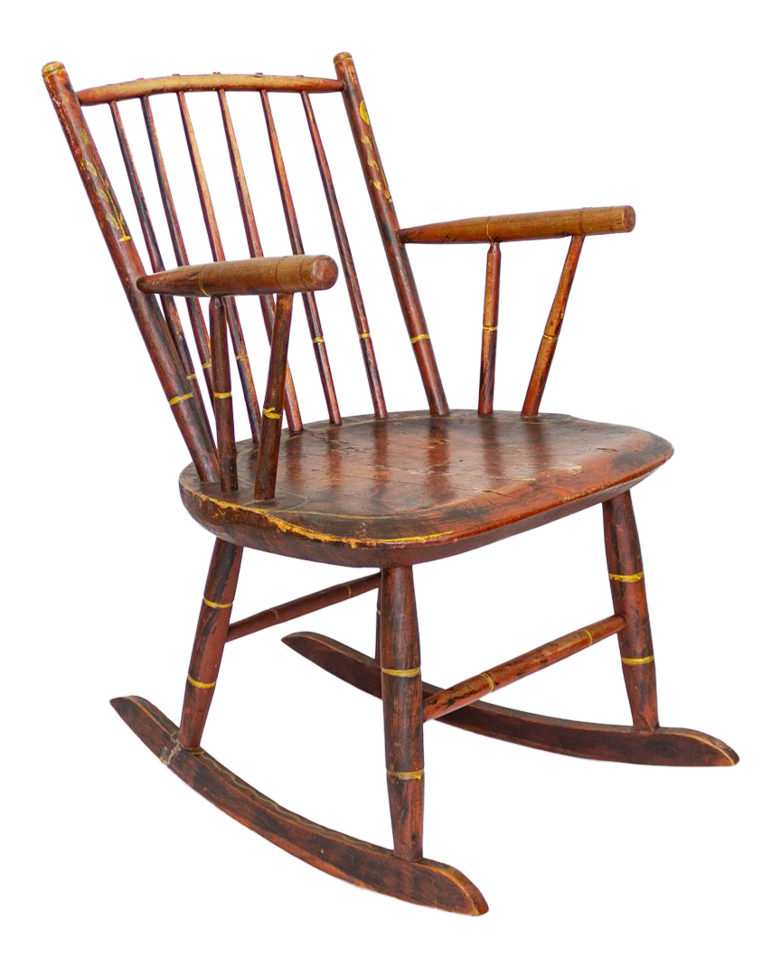 Grain Painted Spindle Back Rocking Chair | 19th Century Red Primitive  Antique