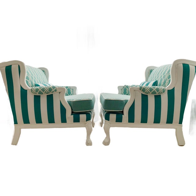 Hollywood Regency Cabana Striped Chairs - a Pair For Sale - Image 4 of 13