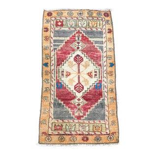 "Vintage Turkish Wool Oushak Rug-1'5'x2'9"" For Sale"