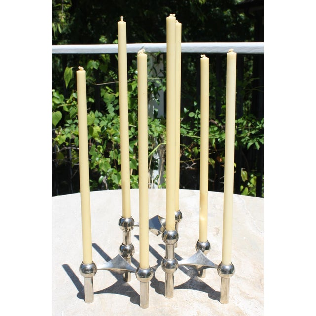 White All Original Boxed Set of Mid-Century Nagel & Stoffi Modular Candleholders With Candles For Sale - Image 8 of 12