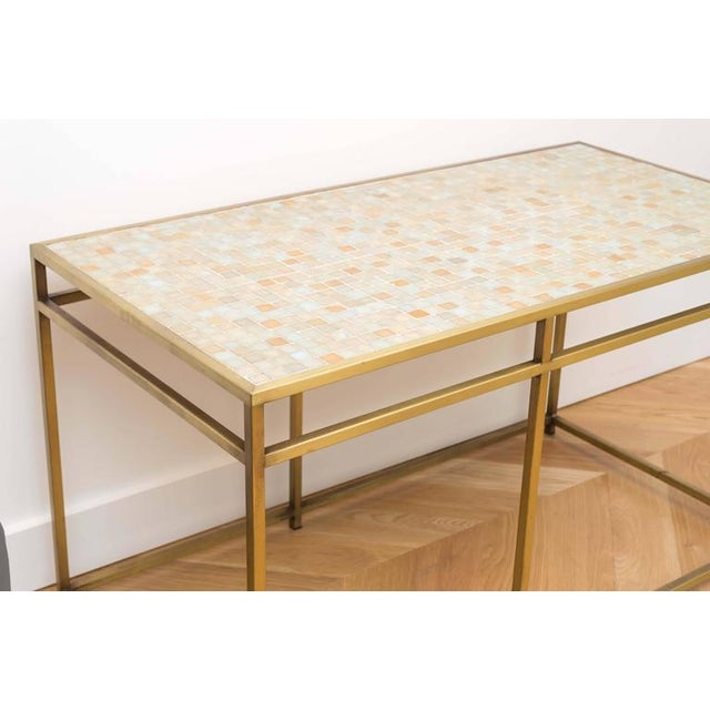 Brass Tile-Top Console Table For Sale In San Francisco - Image 6 of 8