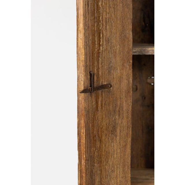 Very Rustic Italian Chestnut Single Door Cabinet With Wrought Iron Hinges, Circa 1720. For Sale - Image 12 of 13
