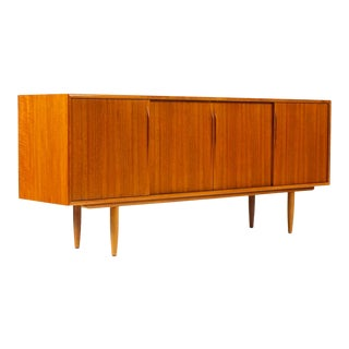 Danish Modern / Mid Century Teak Credenza / Sideboard — Sliding Doors — Gunni Omann — Axel Christiansen Odder For Sale