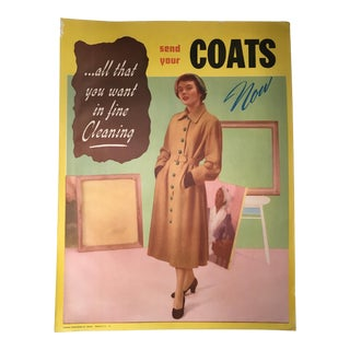 """Vintage Mid-Century """"Send Your Coats Now!"""" Advertising Poster For Sale"""
