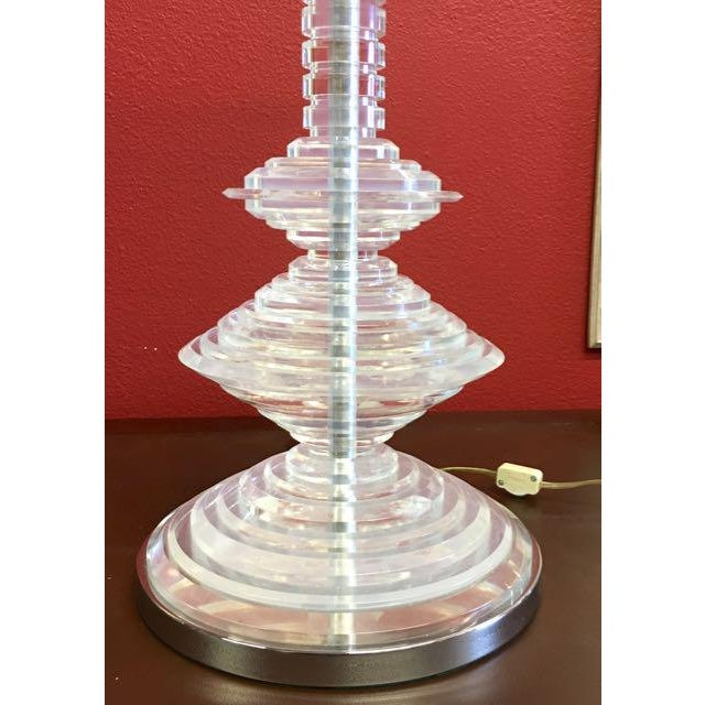 Plastic 1970s Mid Century Modern Stacked Lucite Table Lamp For Sale - Image 7 of 11