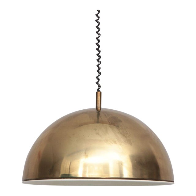 Huge Brass Pendant Lamp from 1960s Italy with White Enamel Inner Shade For Sale