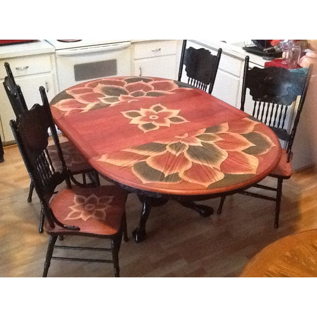 Wood Stain Art Dining Table Set - Image 2 of 7
