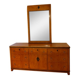 1960s National Mt. Airy Biedermeier Style Dresser With Mirror For Sale
