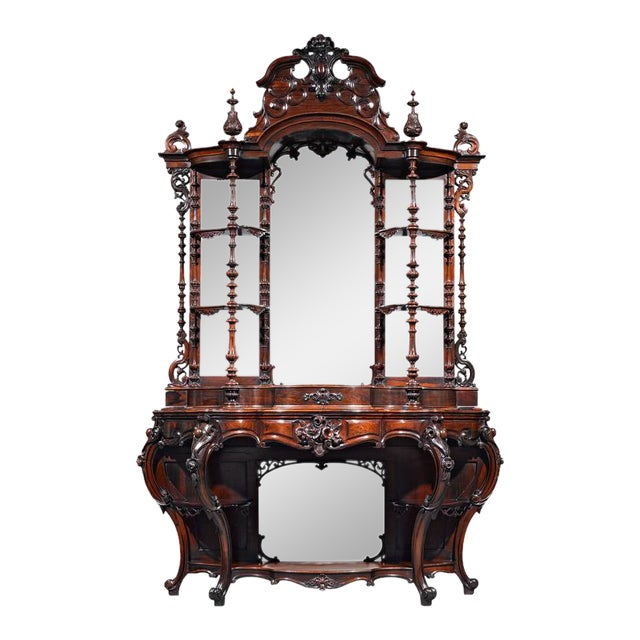 Rococo Revival Rosewood Étagère by Thomas Brooks For Sale