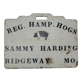 "Americana Double Sided ""Hog"" Sign For Sale"