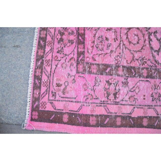 """Turkish Handmade Overdyed Oushak Rug - 8'5"""" x 5'5"""" For Sale - Image 4 of 6"""