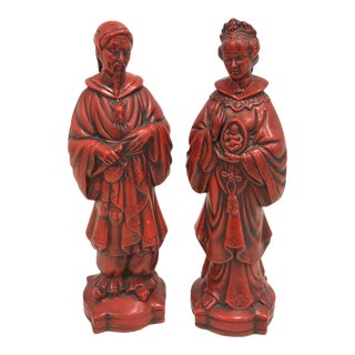 Vintage Luy Red Japanese Porcelain Couple Man Woman - 2 Pieces For Sale