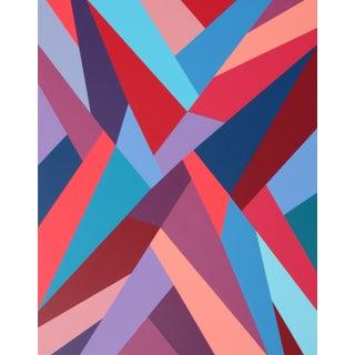 """Heroic Strife"" Contemporary Geometric Hard Edge Acrylic Painting by Sassoon Kosian For Sale"