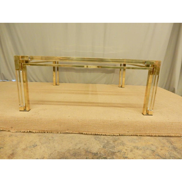 1960s Mid-Century Brass, Lucite, and Glass Square Coffee Table For Sale - Image 5 of 8