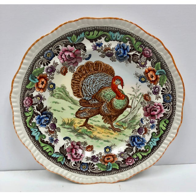 Traditional 1950s Vintage Copeland Spode Turkey Plate For Sale - Image 3 of 10