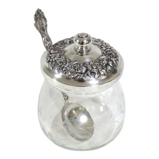 1950s Crystal & Sterling Silver Jam Jar For Sale