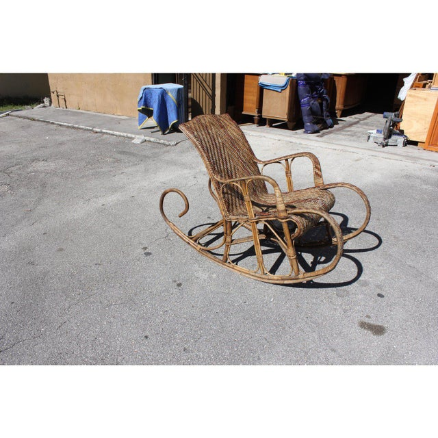 Monumental and very large French Art Deco Rocking Chair Exotic Wood Circa 1940s beautiful fabrication from 1940s french...