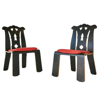 1986 Robert Venturi Chippendale Side Chairs for Knoll International - a Pair For Sale