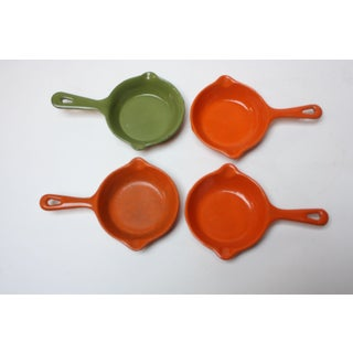 Set of Four Mid-Century Japanese Enamel Coated Cast Iron Mini-Skillets / Butter Warmers Preview