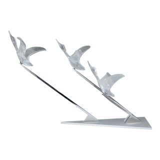 Daum Crystal Flying Geese Sculptures - A Pair For Sale