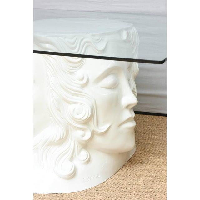 Art Nouveau Signed White Lacquered Resin and Glass Dining / Center Table or Desk For Sale - Image 3 of 8