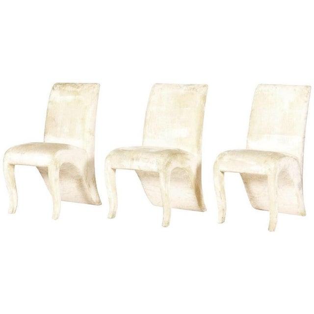 Modern 1990s Vintage Dialogica Cream Velvet High backEd Postmodern Splash Dining Chairs- Set of 6 For Sale - Image 3 of 5