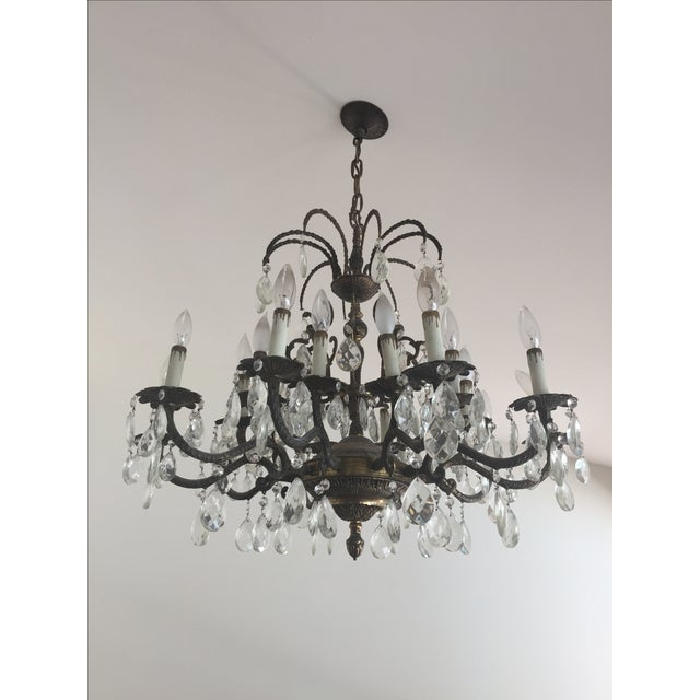Antique Brass Crystal Chandelier - Image 2 of 5