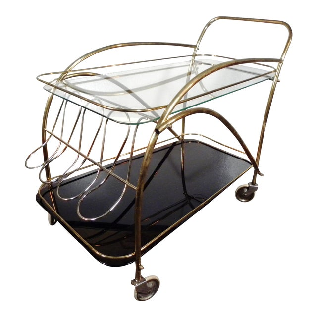 Vintage Deco Style Bar Cart - Image 1 of 8