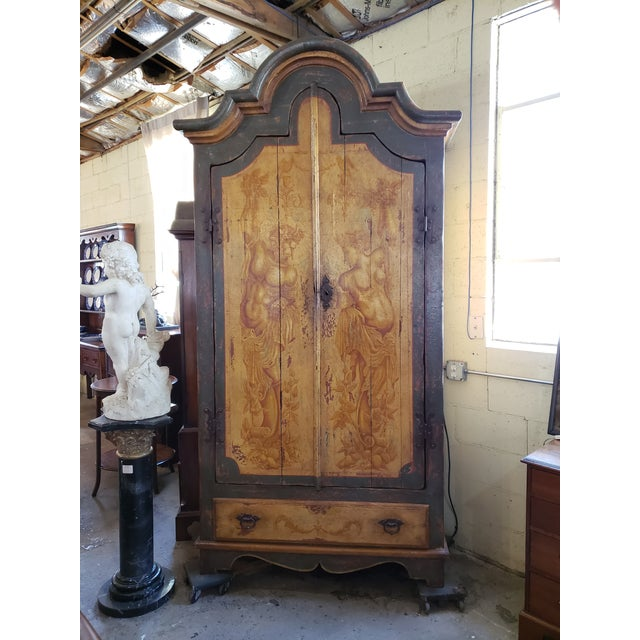 Rustic Hand Painted Arch Top Armoire For Sale - Image 13 of 13