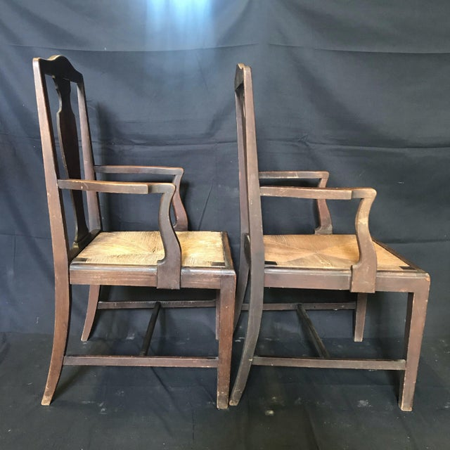 Chippendale Period British Chippendale Armchairs With Rush Seats -A Pair For Sale - Image 3 of 7