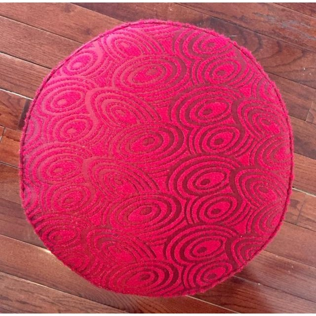 Early 20th Century French Art Deco Wood and Red Fabric Round Stool For Sale In New York - Image 6 of 10