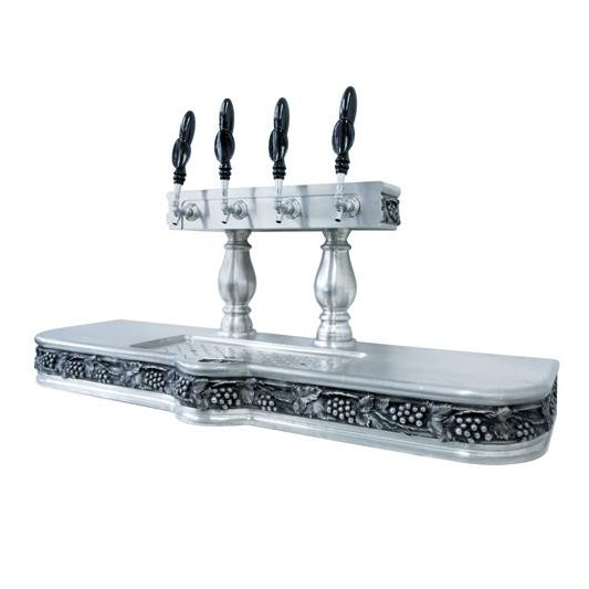 """cast pewter French 56""""w × 22""""h × 19 1/2""""d Height to top of the taps: 30 1/2""""h"""